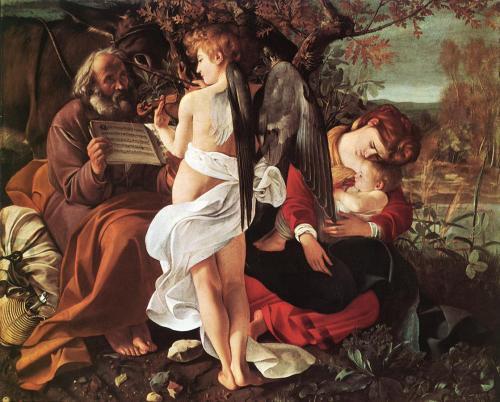 """Michelangelo Merisi da Caravaggio (1571, Milano - 1610, Porto Ercole), """"Riposo nella fuga in Egitto"""", 1596-97, Olio su tela, 133,5 x 166,5 cm, Galleria Doria-Pamphilij, Roma"""