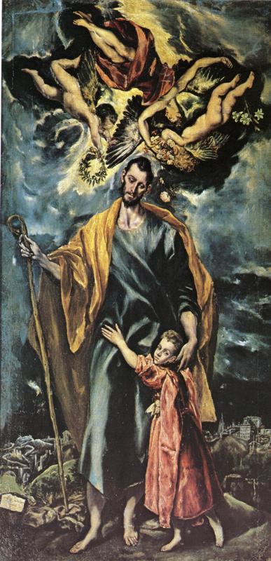 "El Greco, (1541, Candia - 1614, Toledo), ""San Giuseppe con Gesù bambino"", 1597-99, Olio su tela, 289 x 147 cm, Capilla de San José, Toledo"